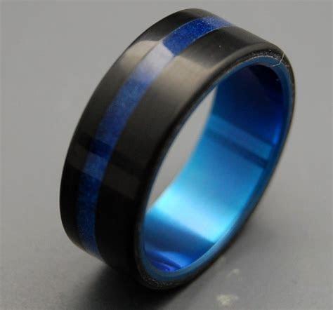 Black and blue wedding band Tron Titanium Resin Wedding