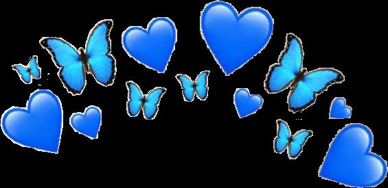 blue heart butterfly emoji crown hearts butterflies bla...