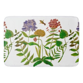 Botanical Illustration on Bathmat Bath Mats