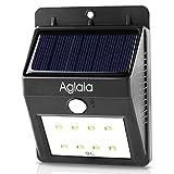 Aglaia 8LED ソーラーライト 人感センサー 屋外照明/軒先/壁掛け/庭先/玄関周りなどのライト 夜間自動点灯 LT-O1 (ブラック)