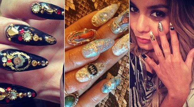 BELEZA - Unhas decoradas - Vanessa Hudgens (Foto: Instagram / Reprodução)