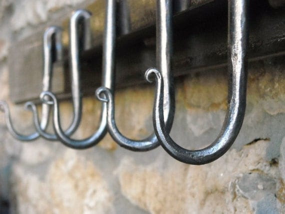 Modern Pot Rack, Coat Rack, Utensil Rack, Forged Hooks, Made by Mike Hill, Artist Blacksmith