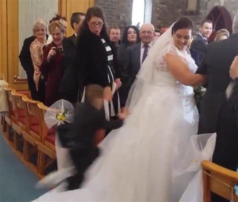 Little Kid Ruins Bride's Walk Down The Aisle In Glorious