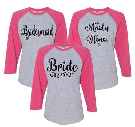 Bride and Bridal Party Raglan T  Shirt   Bachelorette