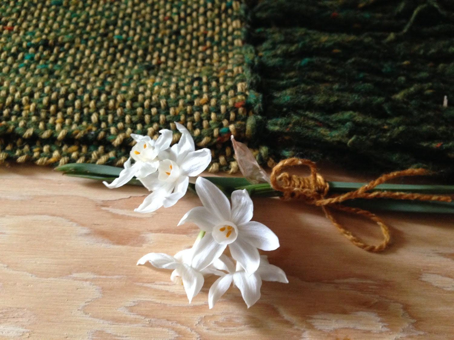 her first memories of spring, wool, cotton, green, gold hand-woven scarf..by The Weaver of Words...weaving fibers & fables - TheWeaverOfWords