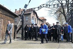 Jewish delegation at Auschwitz