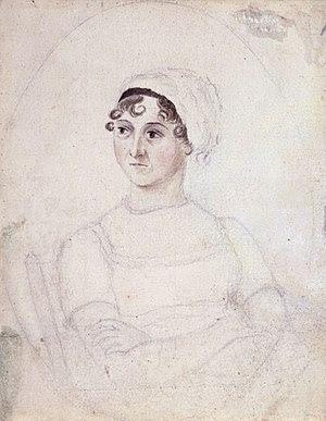 Jane Austen, Watercolour and pencil portrait b...