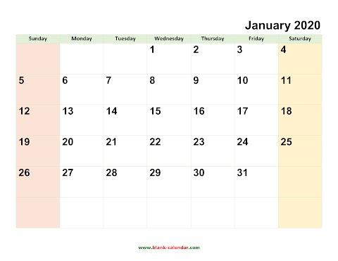 Downloadable Calendar 2020 Free Printable