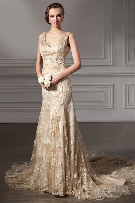 gold lace wedding dress lace dress pinterest wedding