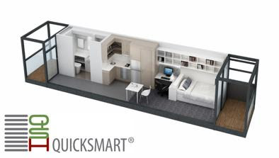 3D rendering of a modular apartment atLaurus Wing, Ursula Hall, ANU by Quicksmart Homes