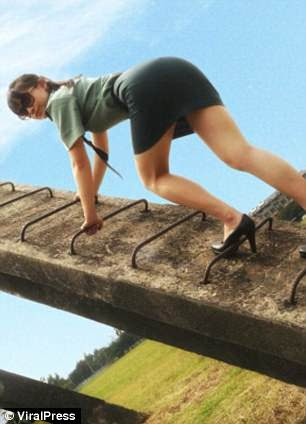 She had reportedly trespassed the military obstacle course in order to take the photos
