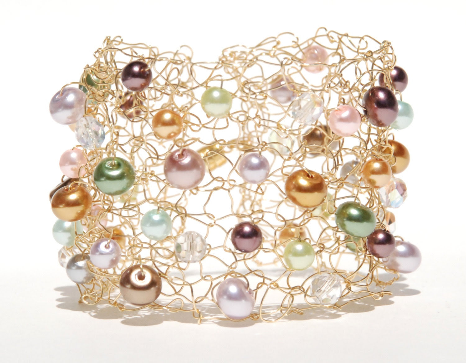 Multi Colored Gold Green Pink Lavender Glass Pearl Gold Wire Unique Cuff Wedding Party Gift - TheKnottyNeedle