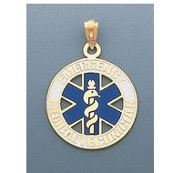 14K GOLD WITH BLUE ENAMEL EMT CHARM