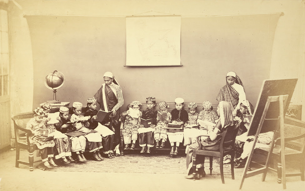 Class with mistress in a mofussil or up-country girls' school, Bombay
