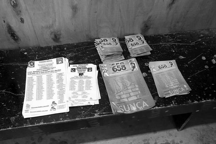 Listas en el cuarto secreto de las elecciones del Sindicato Único Nacional de la Construcción y Anexos, el 27 de julio. Foto: Pablo Nogueira