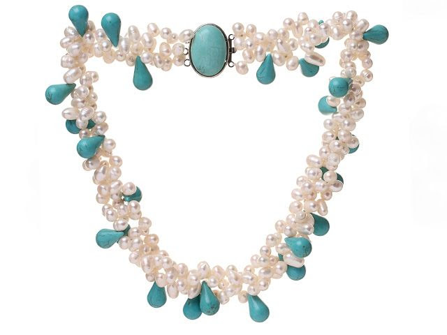 Fashion Multi Strands Cluster Style White Freshwater Pearl And Teardrop Green turquoise necklace With Egg Shape turquoise Clasp