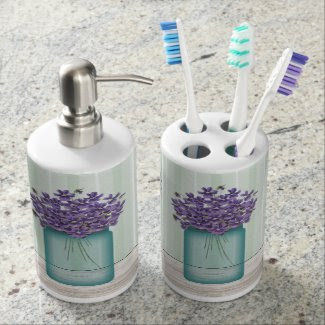 Mason Jar Violets Toothbrush Holder/Soap Dispenser