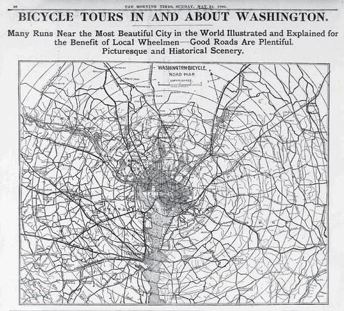 Washington DC Bicycle Map, 1896