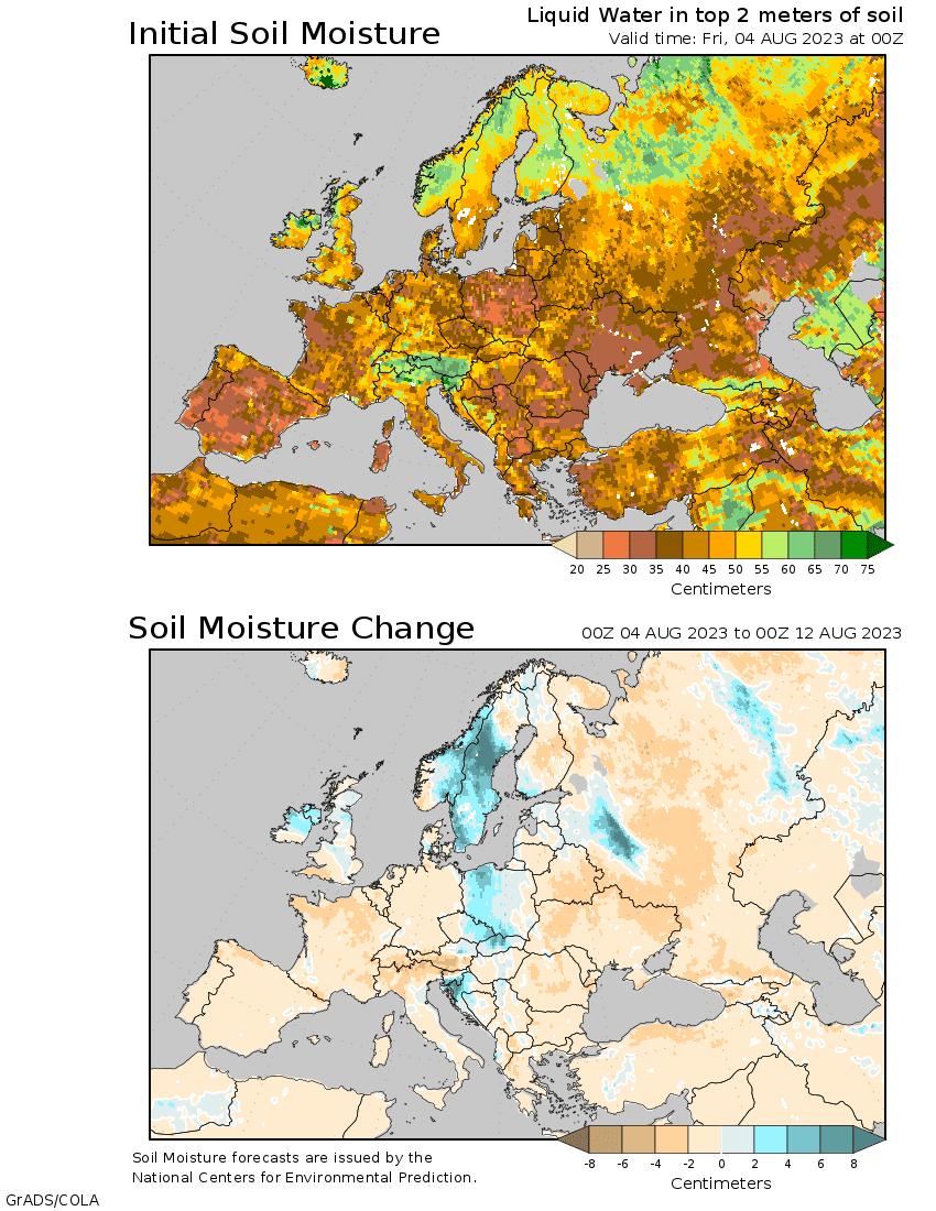 Anomalías de humedad del suelo plazo medio