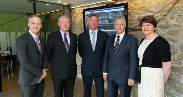 First Derivatives chief executive Brian Conlon and director Kevin Cunningham, Enterprise Minister Arlene Foster, First Minister Peter Robinson and Deputy First Minister Martin McGuinness at the jobs announcement.