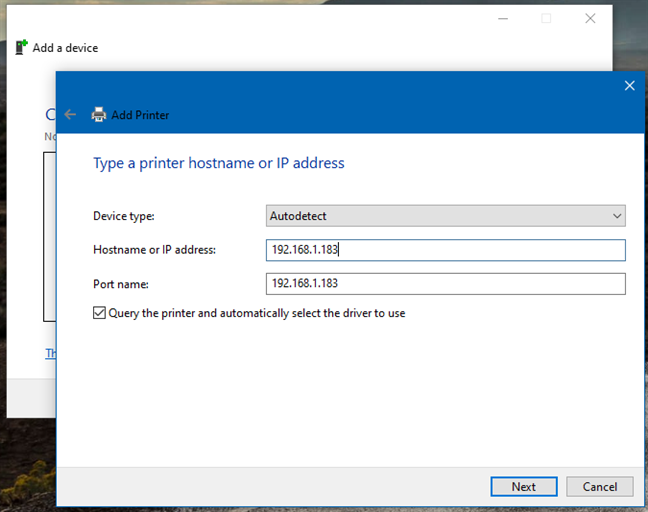 Agregar una impresora inalámbrica desde el Panel de control usando una dirección IP