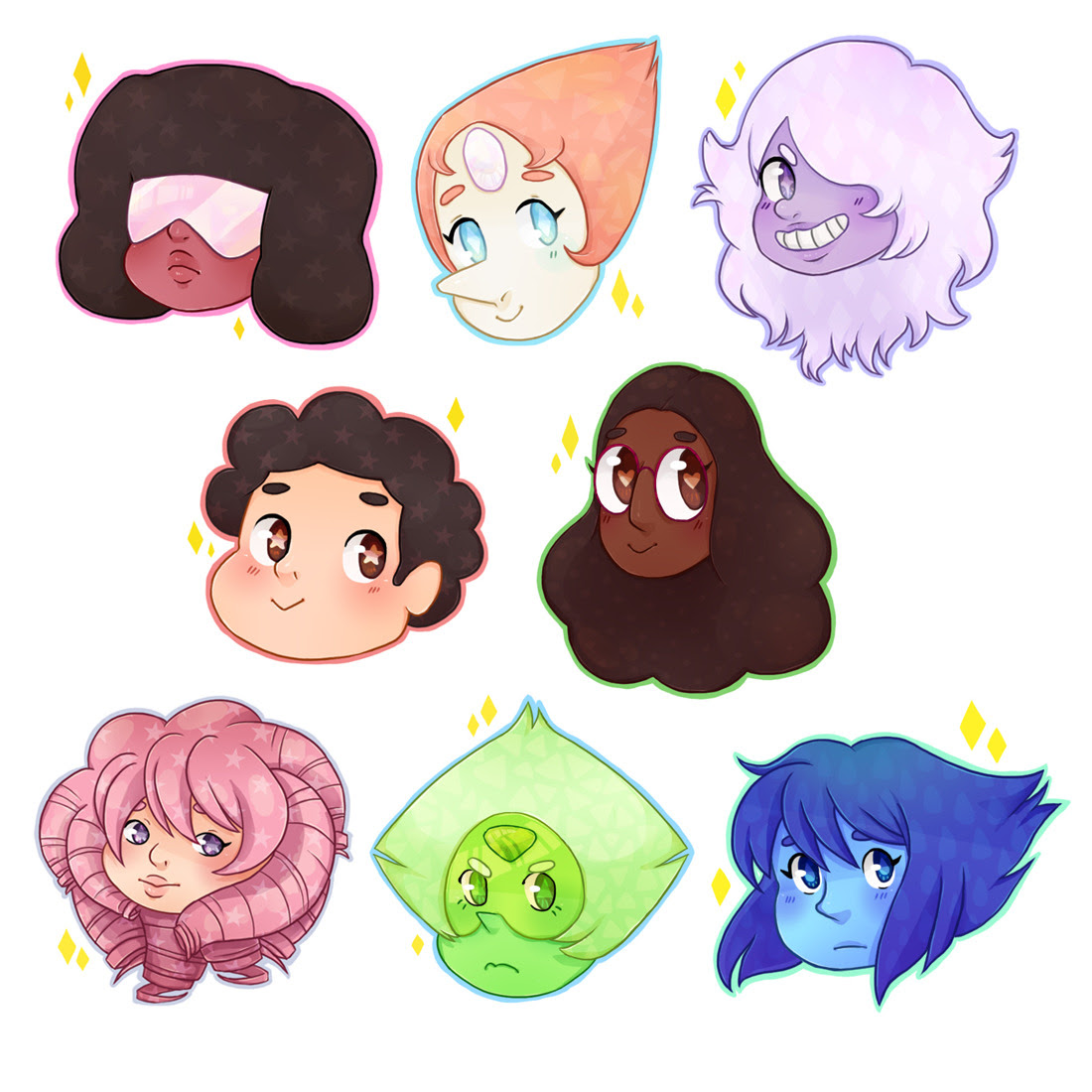 rocks with feelings: a sticker set 💎 ✨ you can acquire these @ mine etsy