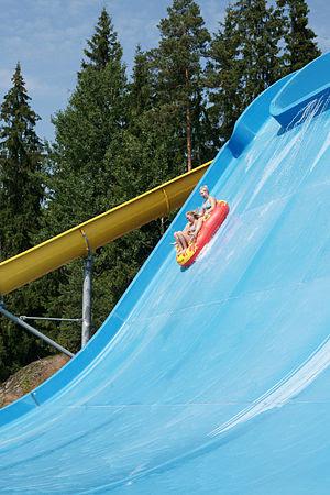 English: Half Pipe -water slide in water park ...