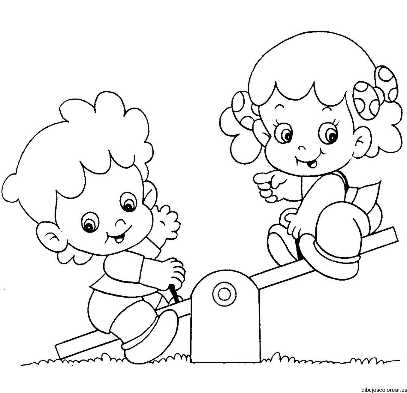 Dibujo De Dos Niñas Jugando En El Parque