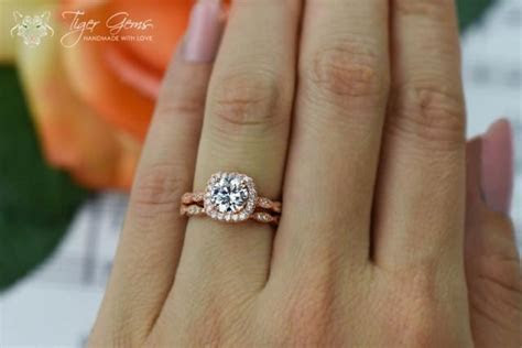 1.25 Carat Halo Wedding Set, Vintage Style Bridal Rings