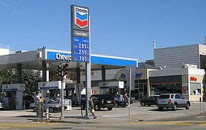Chevron Corporation-branded gas station on 19t...
