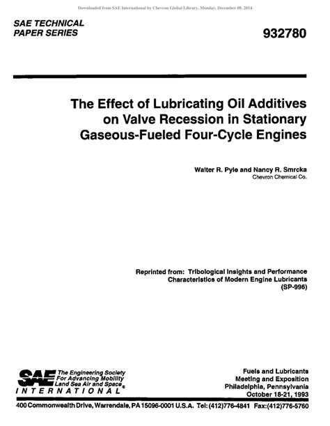 (PDF) The Effect of Lubricating Oil Additives on Valve