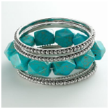 daisy fuentes Silver Tone Bead Bangle & Simulated Turquoise Stretch Bracelet Set