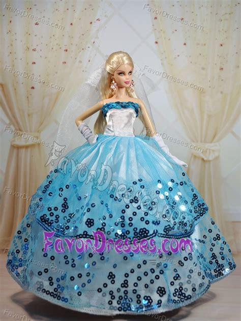 Popular Ball Gown Party Clothes White and Blue Barbie Doll