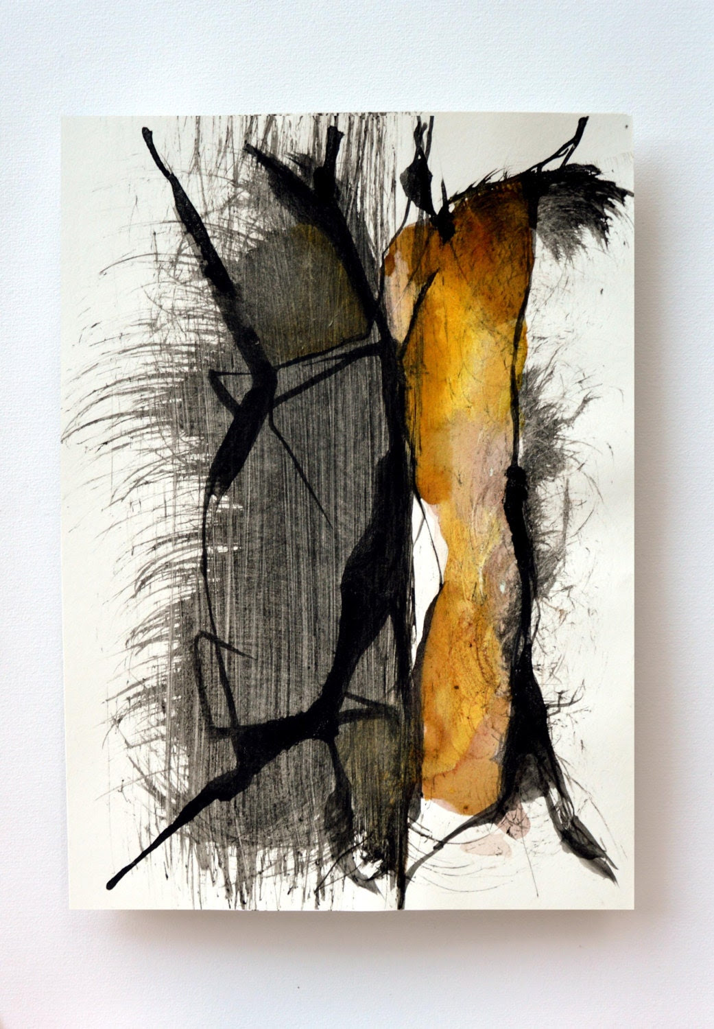 Original abstract art ink drawing - Constant transformation-black, brown, beige, yellow & white,modern art, contemporany art - ComArt