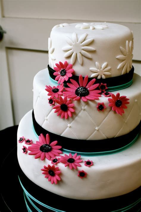 bumble cakes: aqua, black, and pink wedding cake!