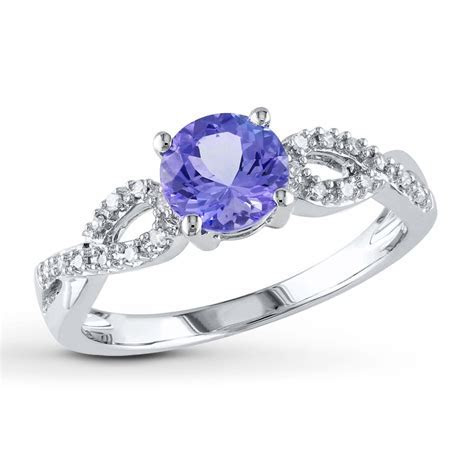 Tanzanite Ring 1/15 ct tw Diamonds 10K White Gold