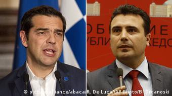 Bildkombo Alexis Tsipras und Zoran Zaev (picture-alliance/abaca/R. De Luca//AP Photo/B. Grdanoski)