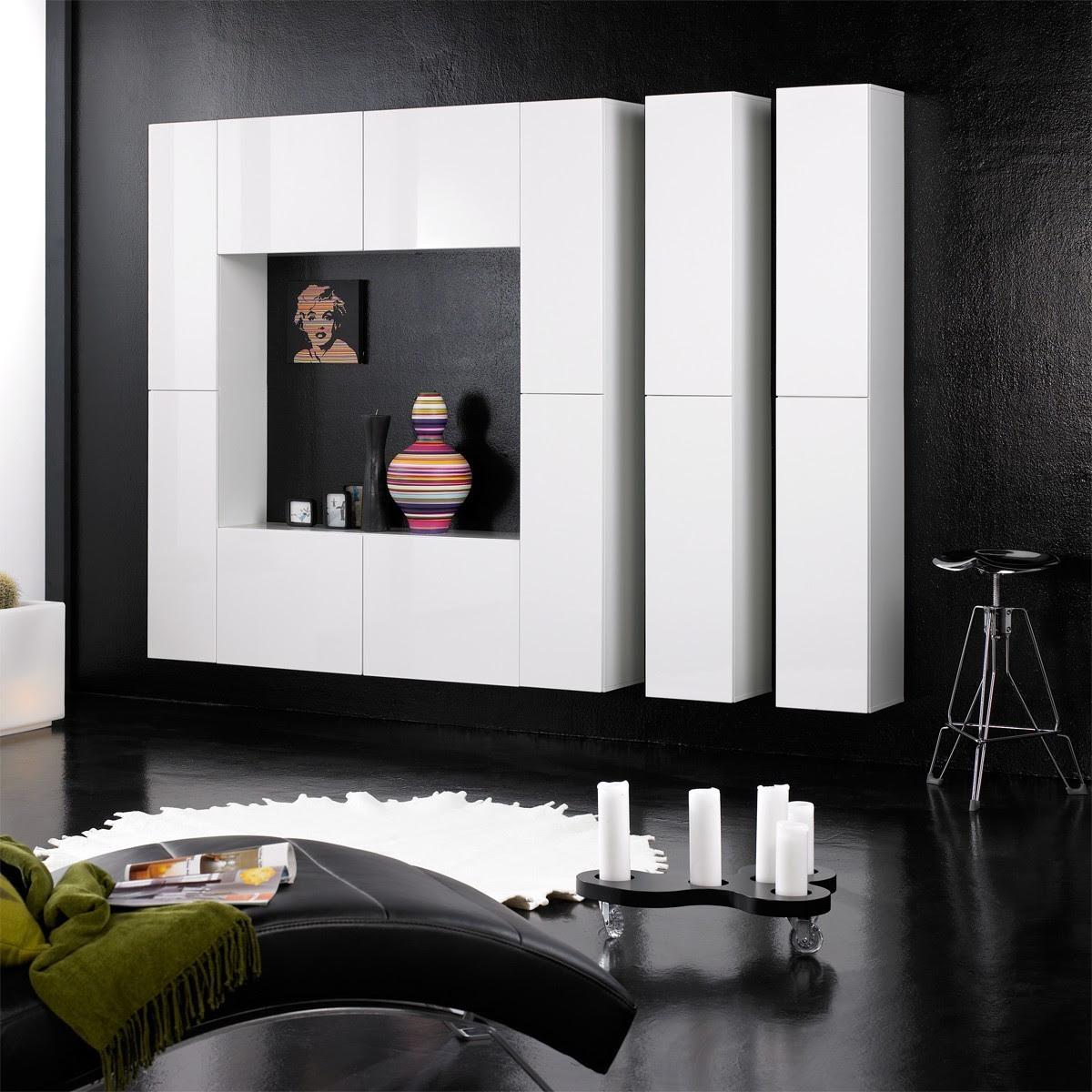 Design Wohnwand Schrankwand Anbauwand -Monaco- Weiß Hochglanz modern ...