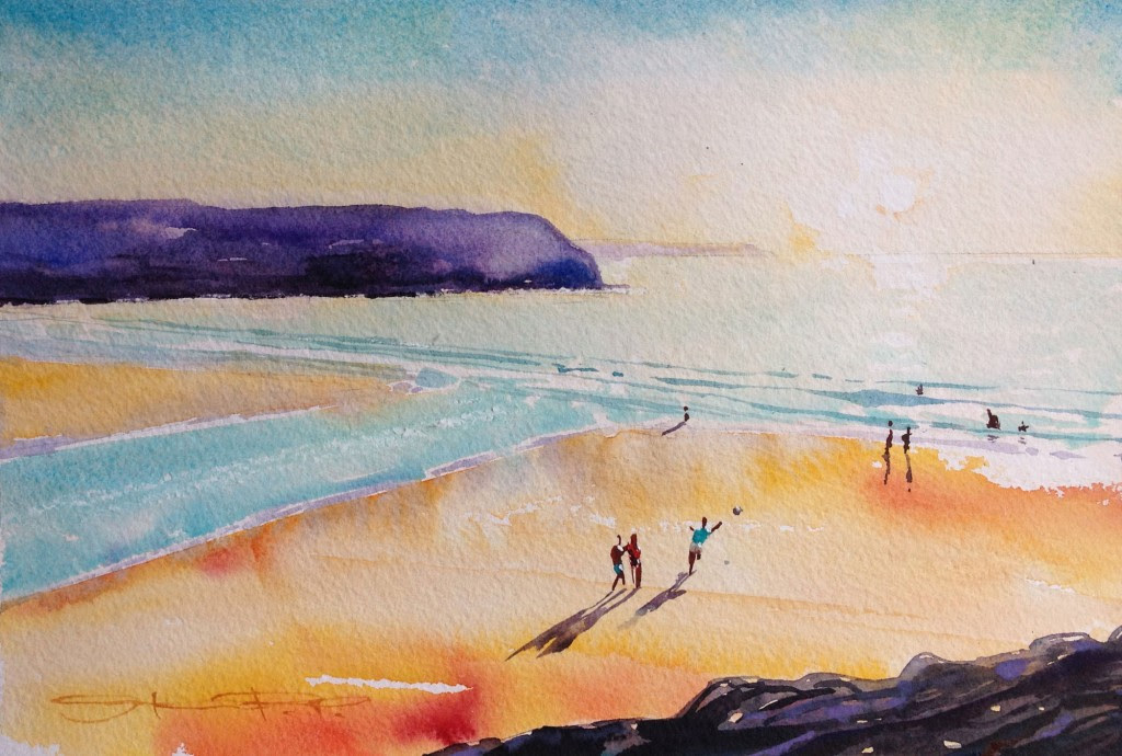 """""""Low tide Half time"""" a hot late afternoon game of beach football . Woolacombe Bay watercolour painting by North devon Artist Steven Pleydell-Pearce from the Woolacombe Art Gallery of Steve PP"""