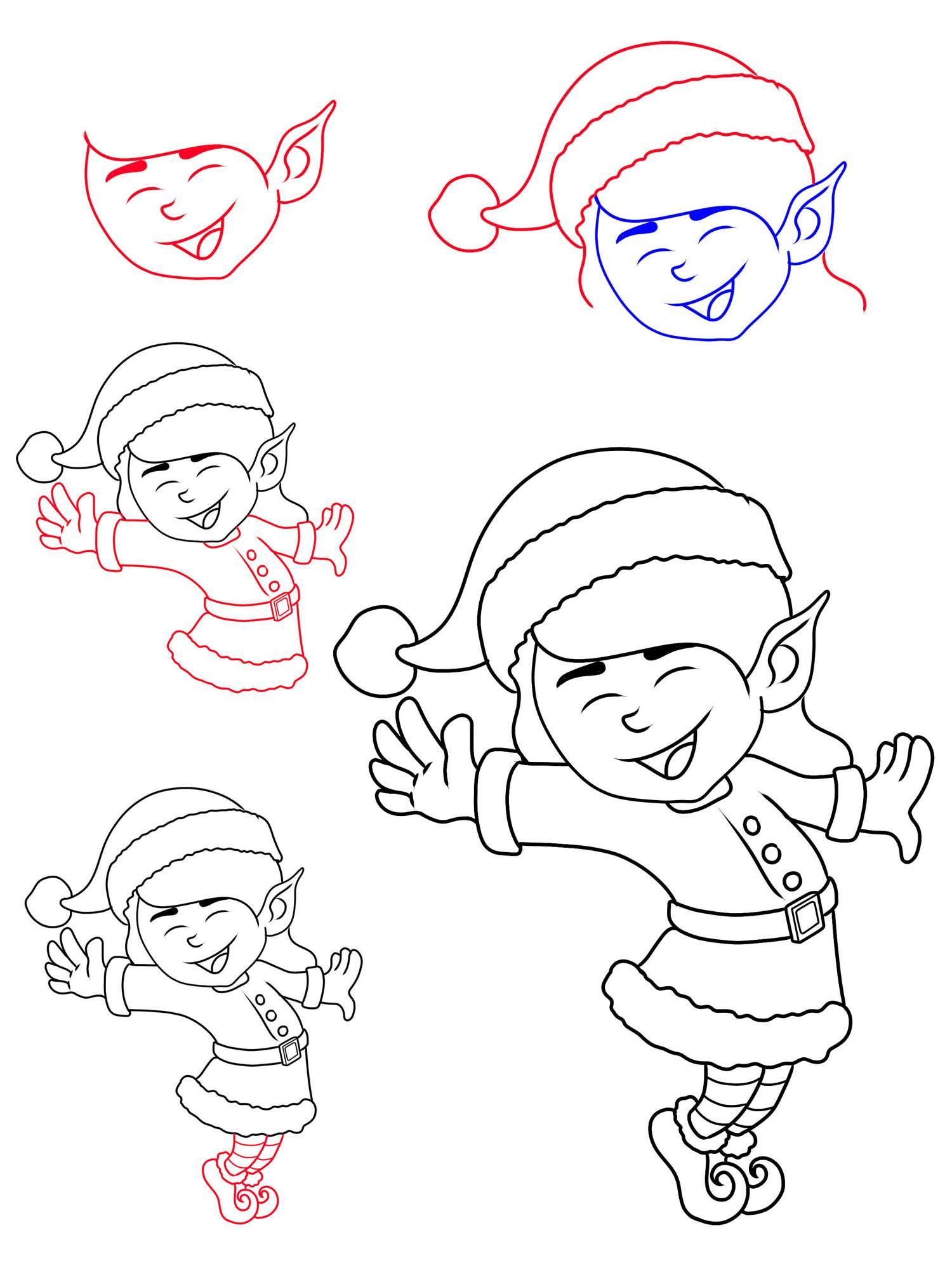 Ausmalbild Weihnachten Wie malt man einen Weihnachtself kostenlos ausdrucken
