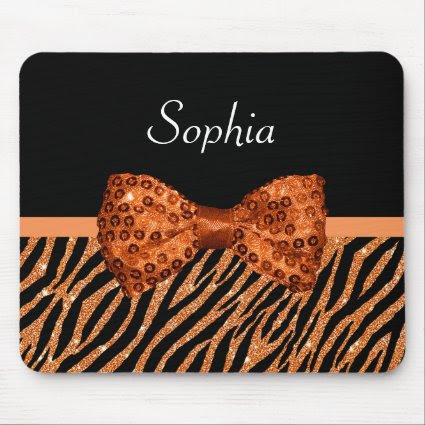 Chic Orange Glitter Zebra Print Luxe Bow With Name Mouse Pad