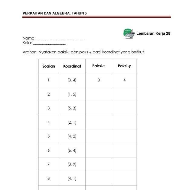 Soalan Matematik Tahun 4 Koordinat Kuora M