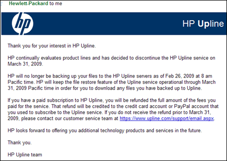 HP Upline Online backup  and storage service is shutting down