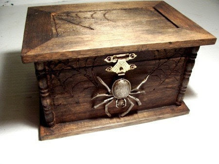 Aged Spider  jewelry box / Gothic wood chest /spiderwebs  Halloween