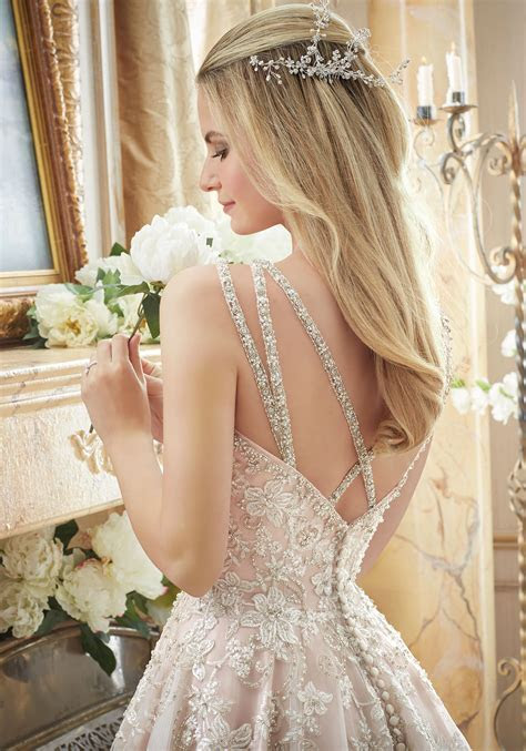 Elaborately Beaded Embroidery on Tulle Ball Gown   Style