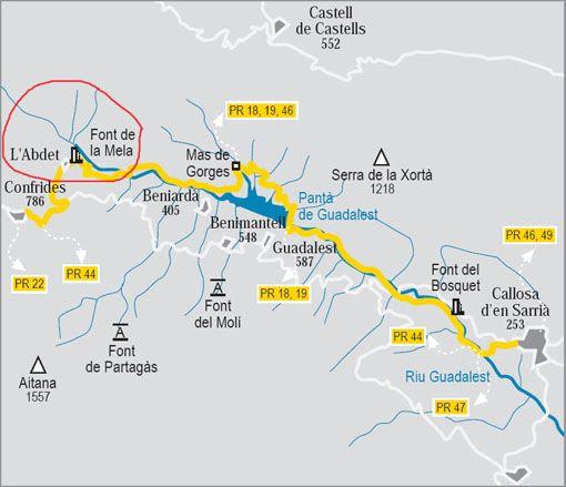 Resultado de imagen de valle de guadalest  mapa