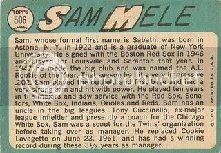 #506 Sam Mele (back)