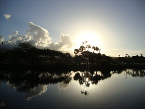 the sunrise over the Ala Wai canal