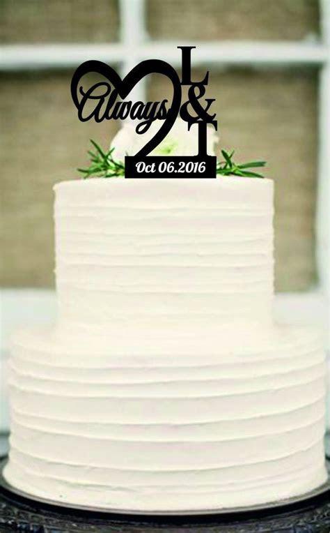 Always CakeTopper, Rustic Wedding Cake Topper, Monogram