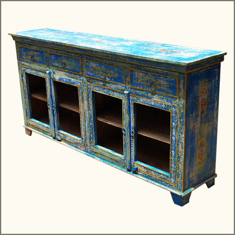 Rustic Reclaimed Wood Distressed Painted Sideboard Dining ...